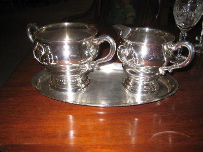 Sølvplet thesæt med bakke