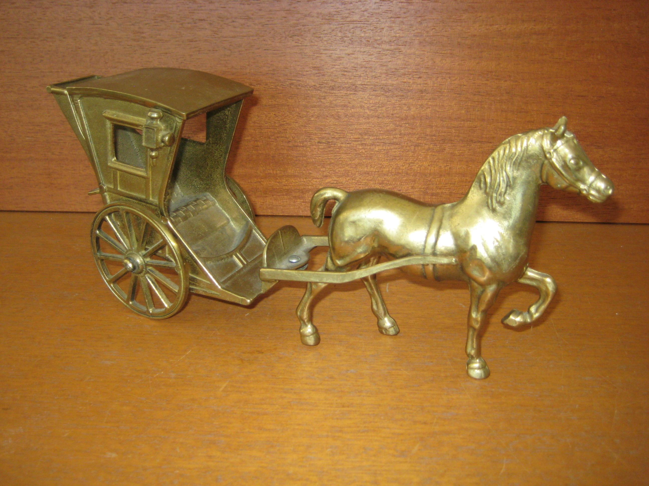 Hest og vogn i bronce