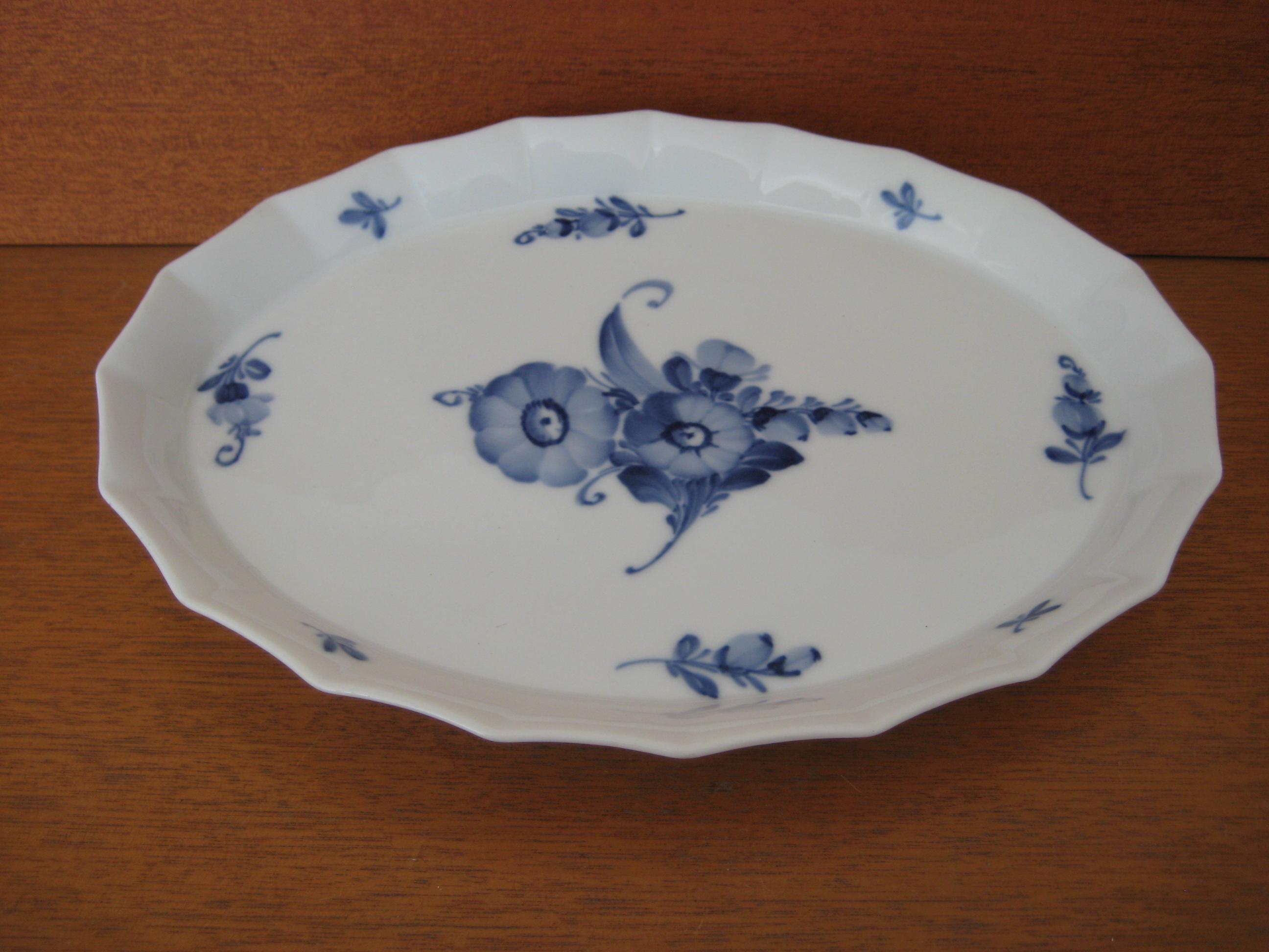 Blå Blomst kantet serveringsbakke
