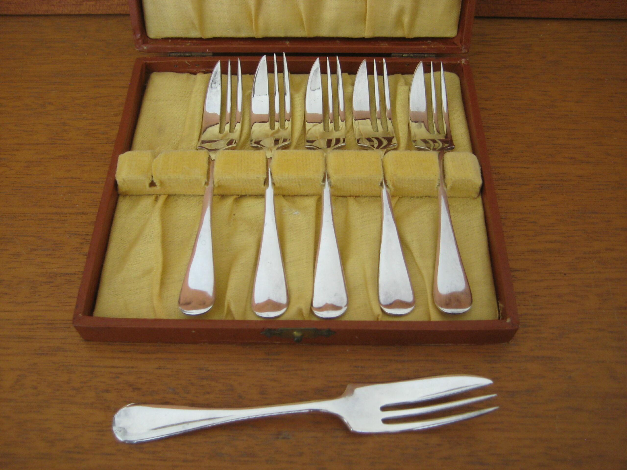6 engelske sølv kagegafler