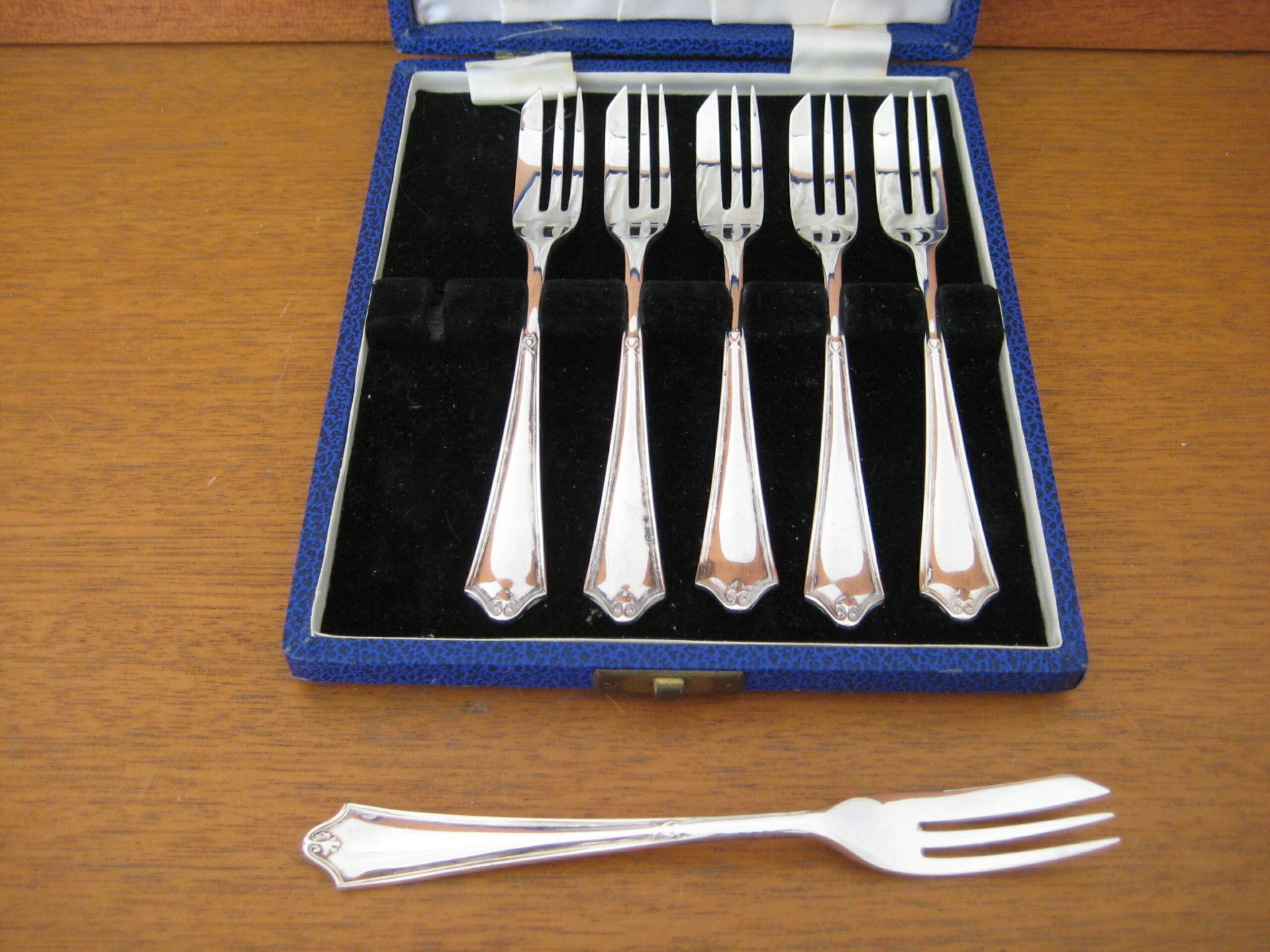 6 kagegafler engelsk sølv