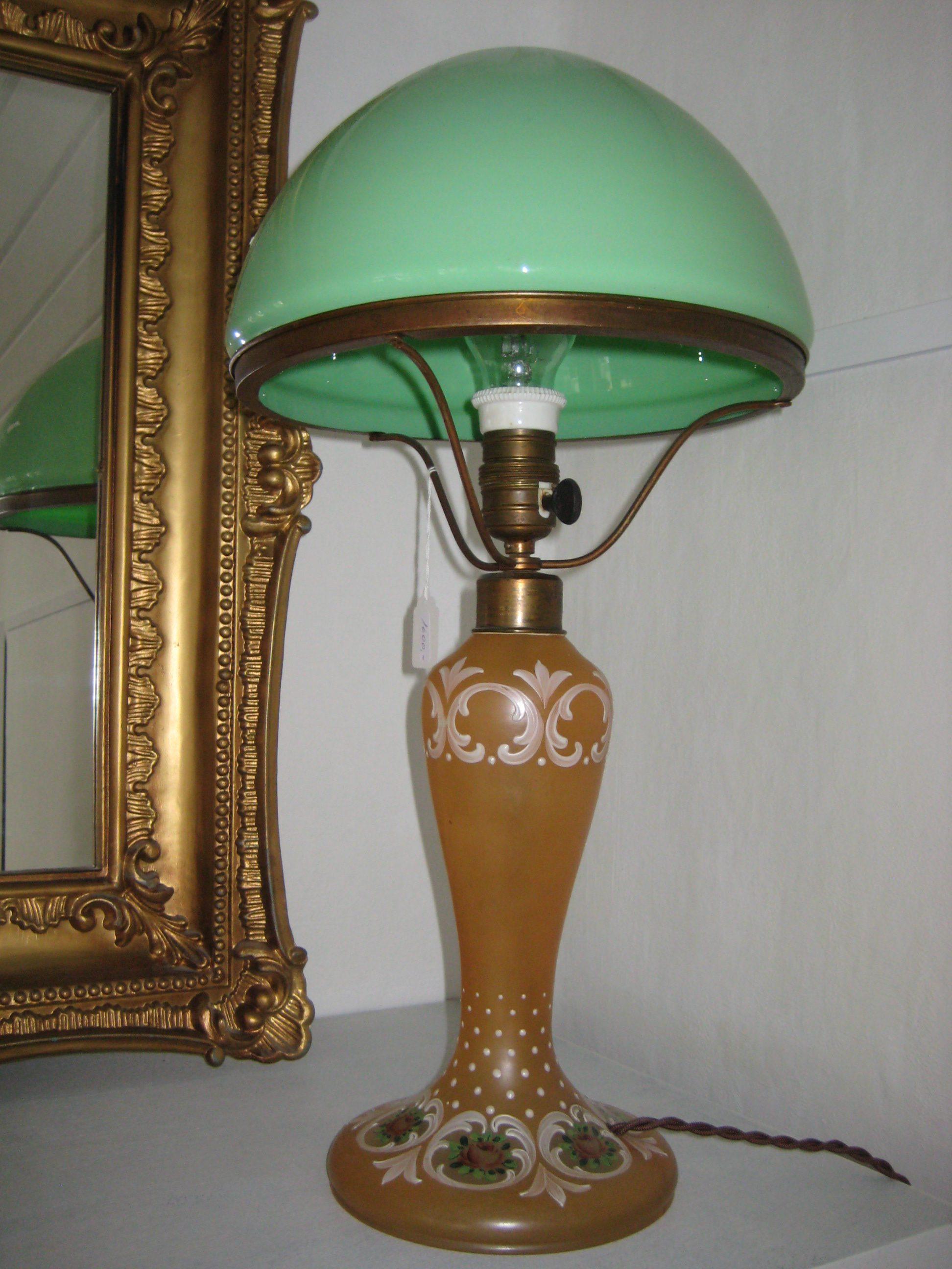 Bordlampe glas med grøn skærm