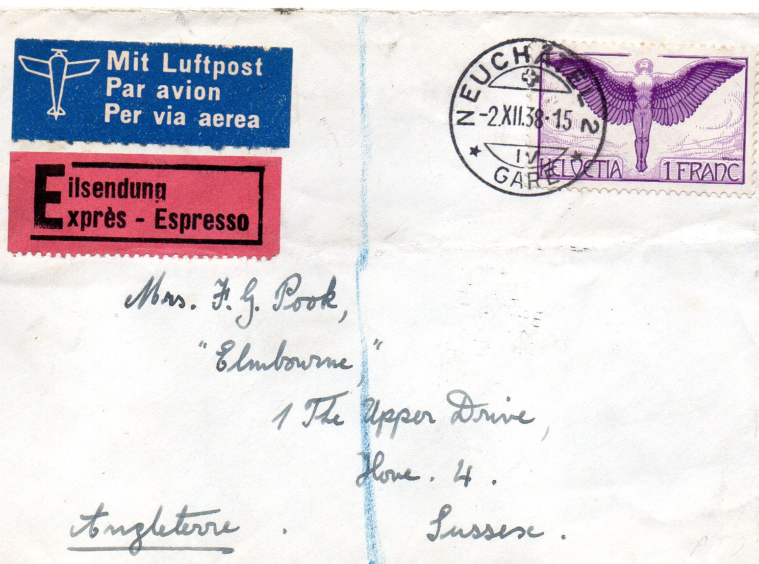 Luftpostbrev til England 1938