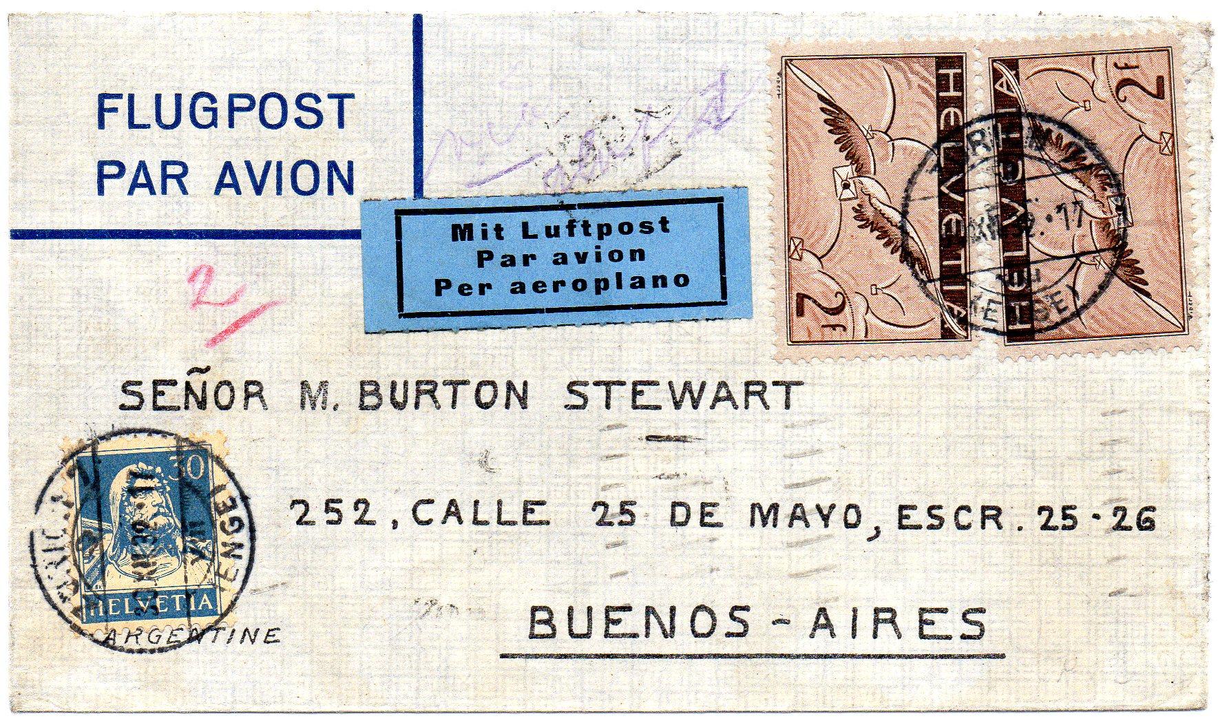 Luftpostbrev til Argentina 1932