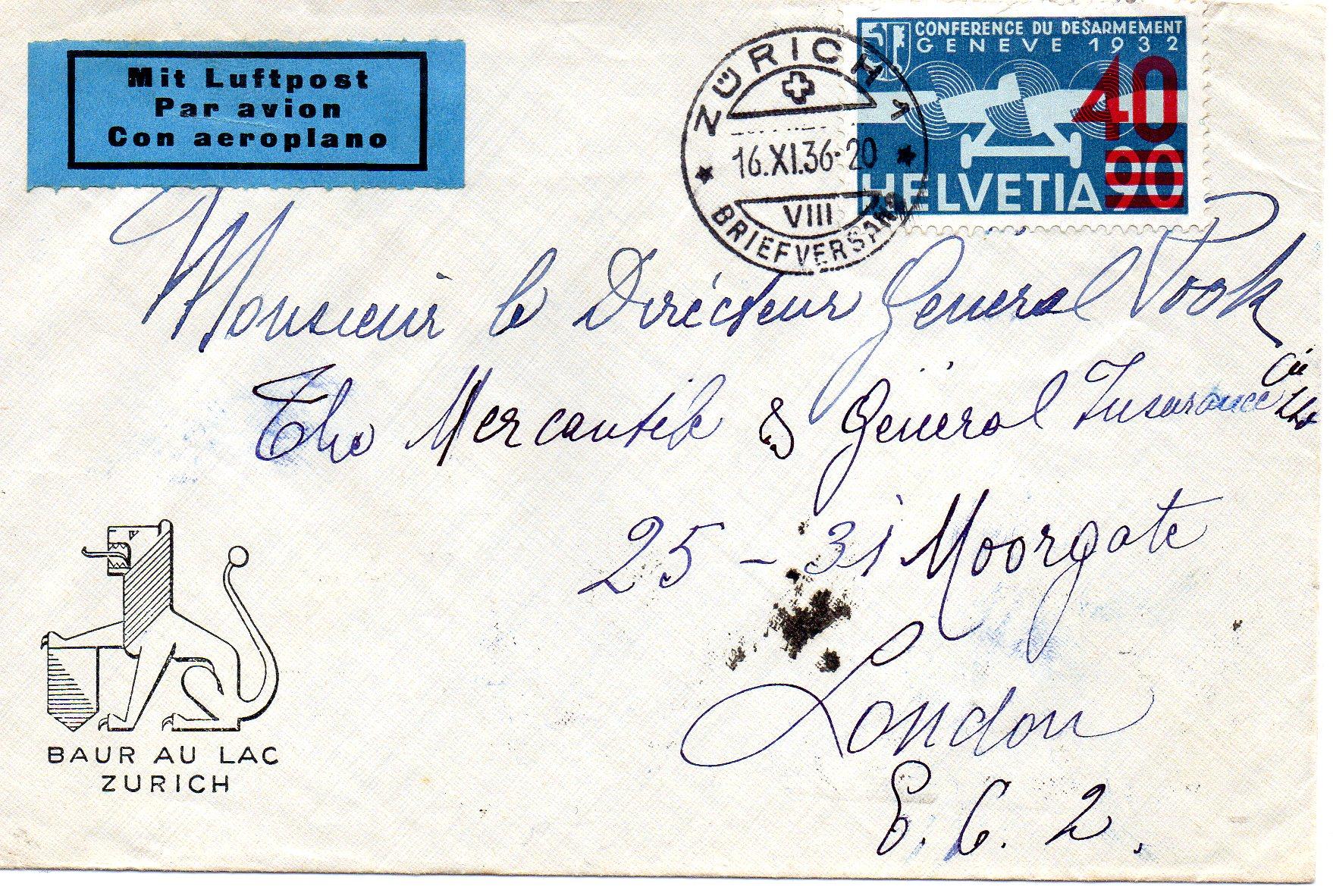 Luftpostbrev til London 1936