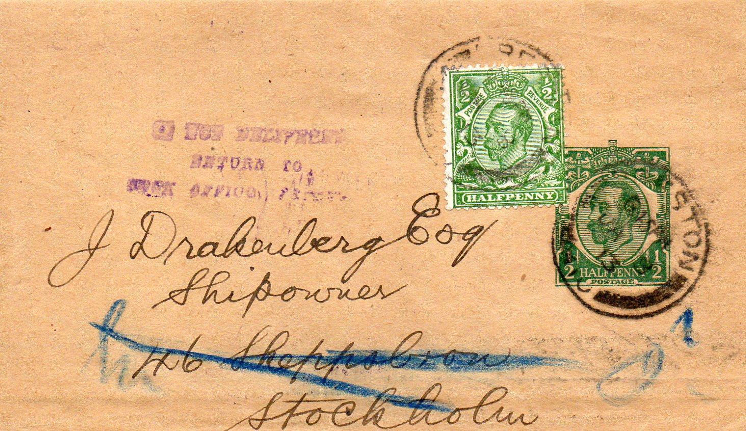Korsbånd fra Preston til Stockholm 1918