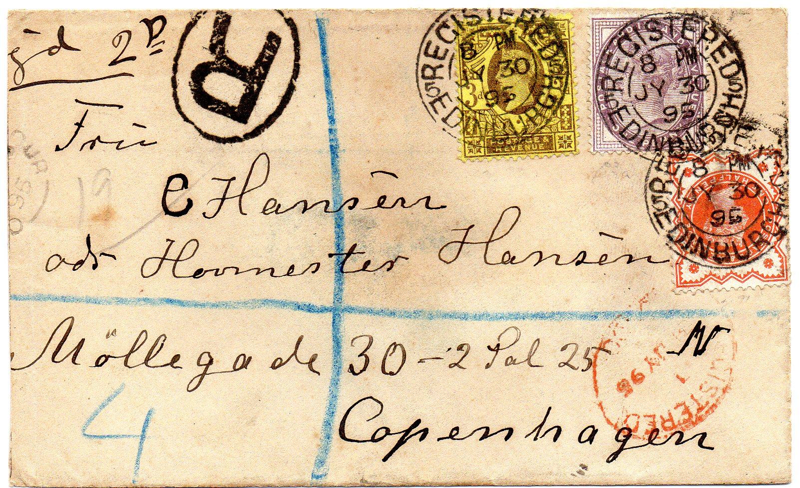 Anbefalet brev Edinburgh til Danmark 1895