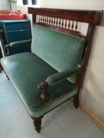 Sofabænk mørk grøn plysbetræk