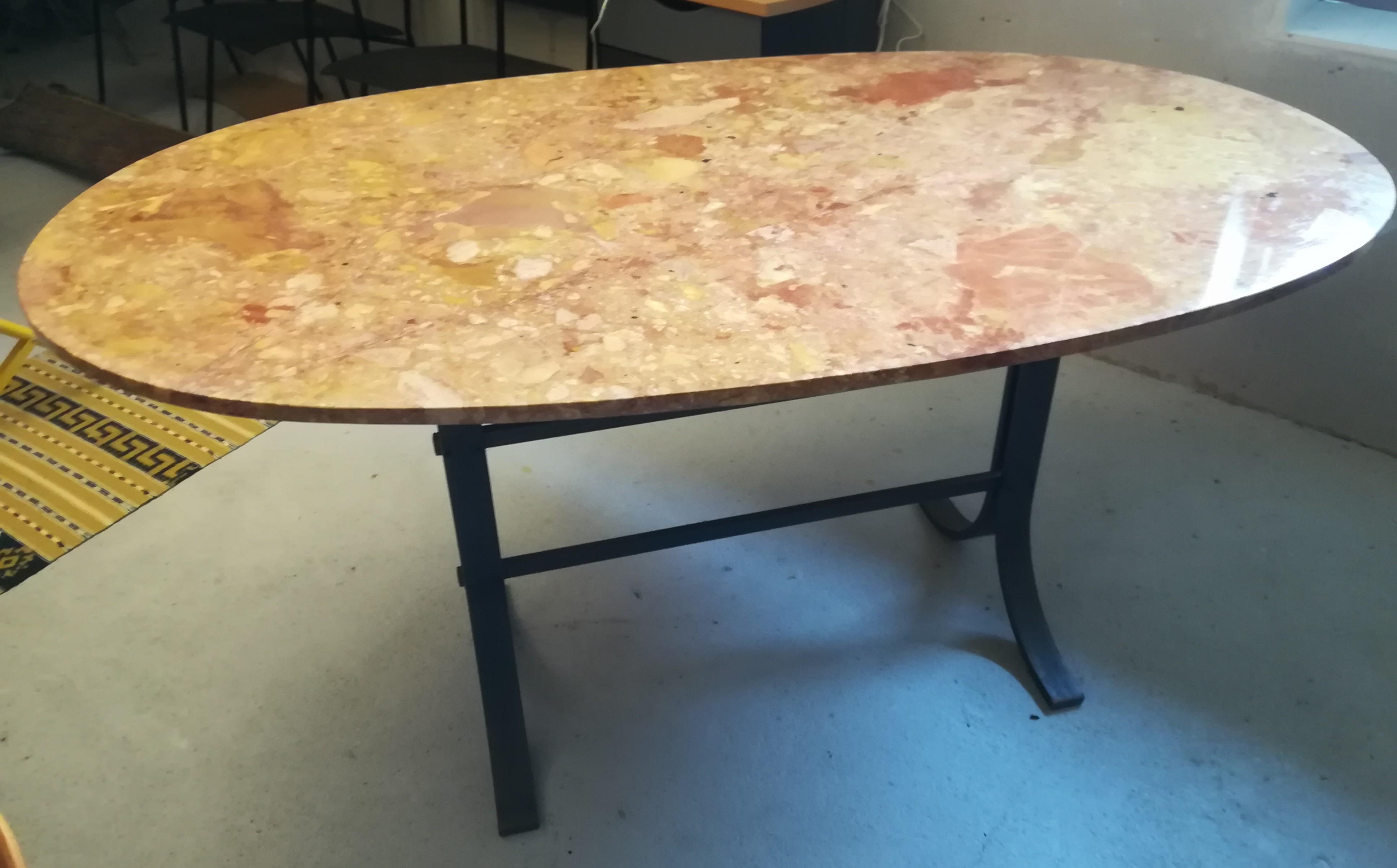 Picture of: Marmorbord Ovalt Med Jernstel 160x 90cm Nyt Brugt Smukt