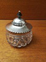 Cremekrukke krystal med sølv