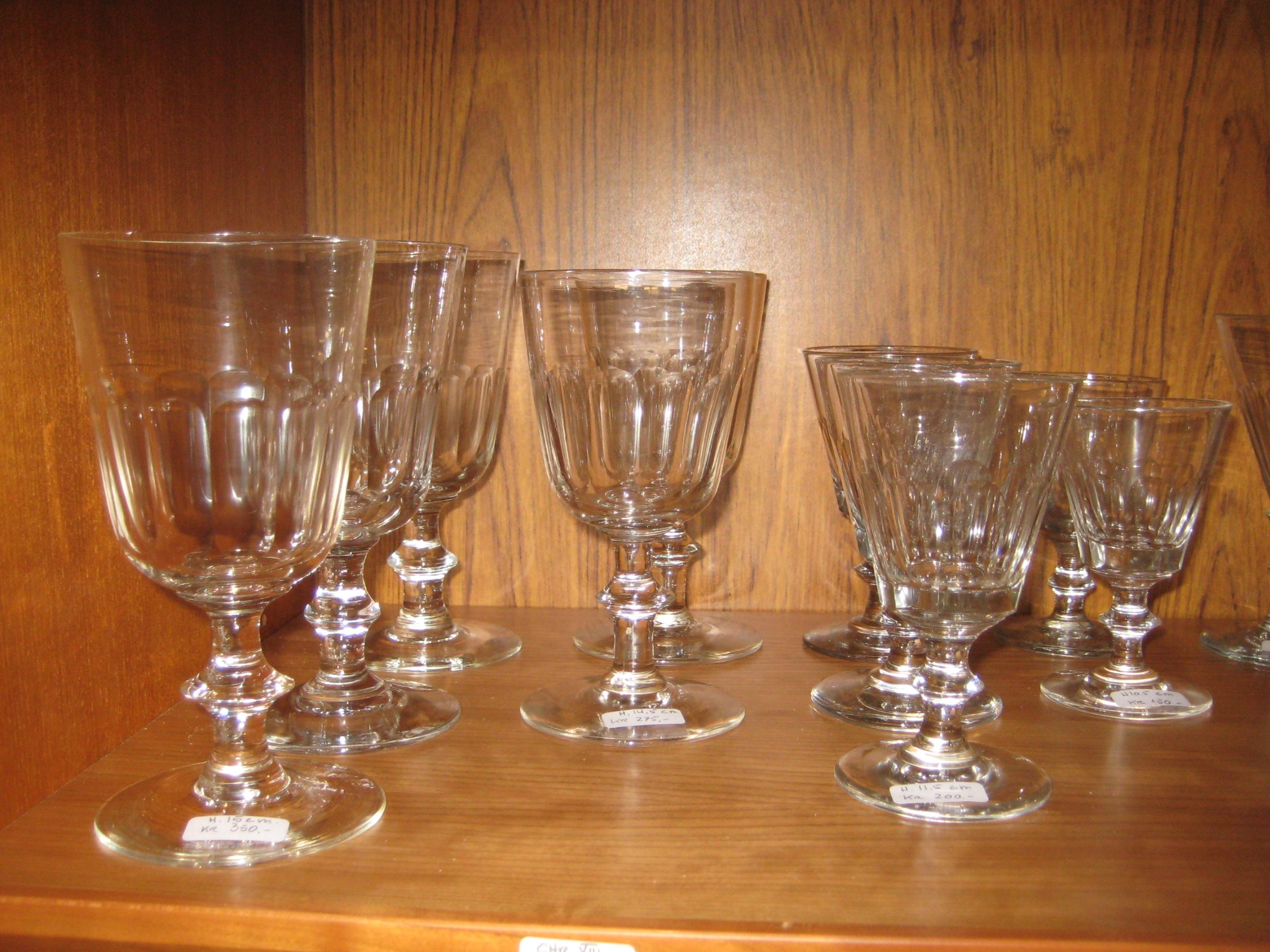 Efterstræbte Chr. VIII mundblæste glas fra Holmegaard - Nyt-Brugt-Smukt LE-34