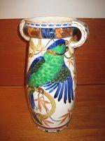 Aluminia vase med hanke og fuglemotiv